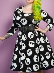 Hotrod Honey Skull swing dress
